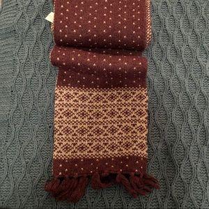 Purple & Gray Patterned Wool Blend Scarf